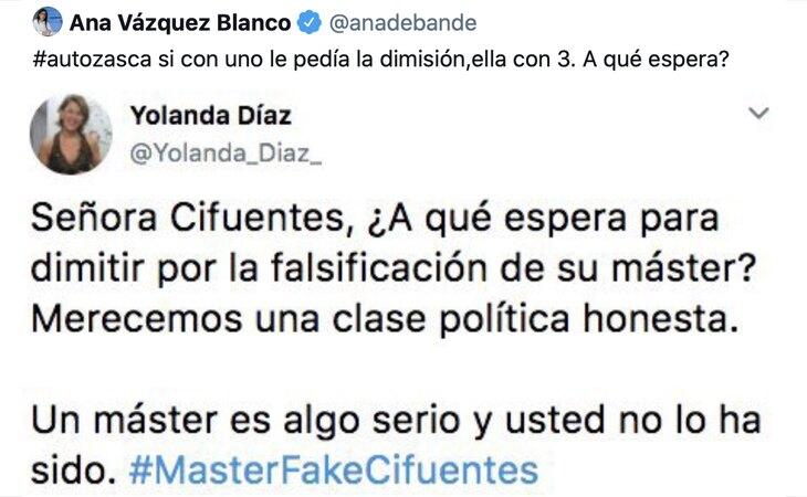 Tuit de la diputada del PP Ana Belén Vázquez difundiendo el bulo de Alvise Pérez contra Yolanda Díaz