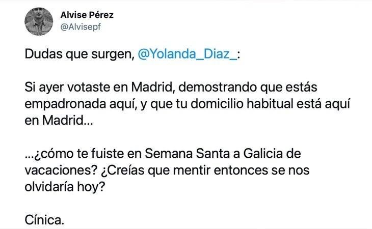 Bulo de Alvise Pérez acusando de Yolanda Díaz de haberse saltado las restricciones del coronavirus