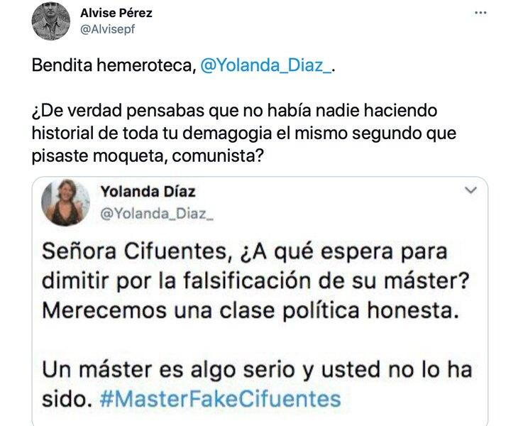 Alvise Pérez difunde un bulo en contra de Yolanda Díaz usando un burdo montaje