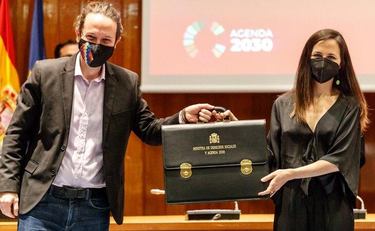 Pablo Iglesias, en el traspaso de cartera a Ione Belarra