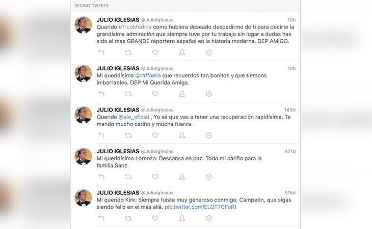 Vista general del Twitter de Julio Iglesias
