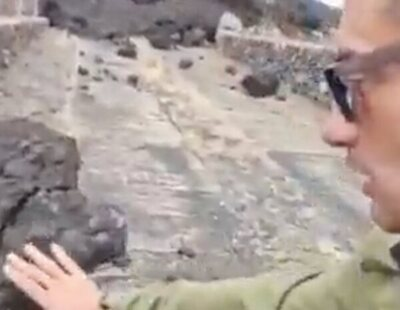 """""""Premio Darwin del año"""": Críticas en Twitter a un hombre que se graba tocando la lava en La Palma"""