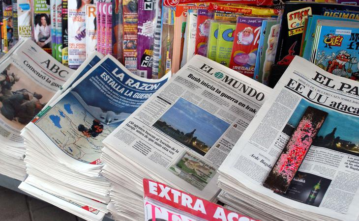 Titulares de la prensa española anunciando el inicio de la guerra