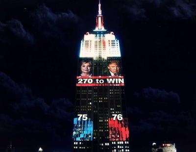 El Empire State se ilumina con los resultados de las elecciones en EEUU
