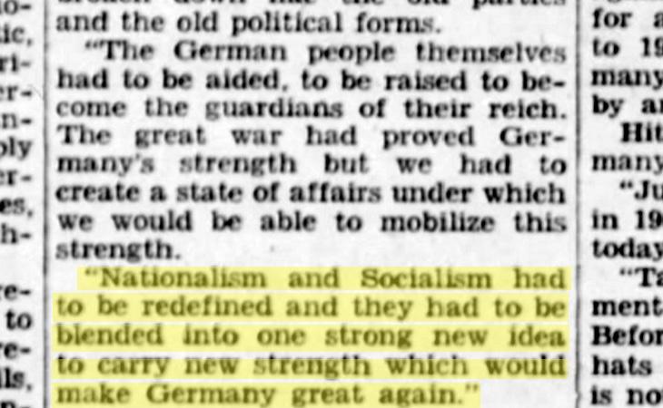 Un periódico de Missouri reprodujo este discurso de Hitler en 1940