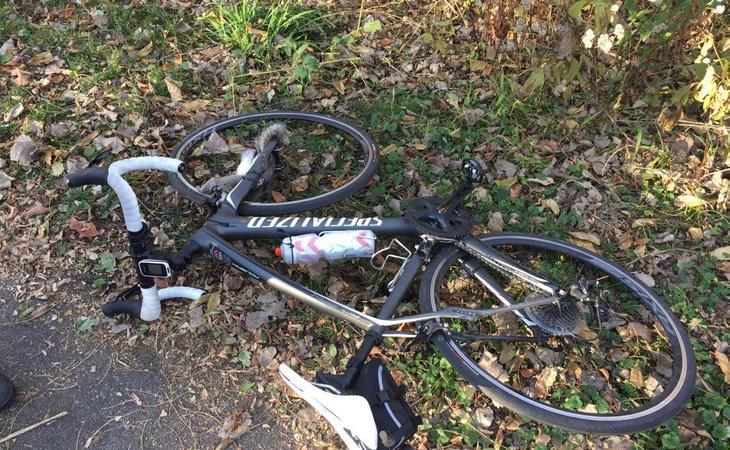 La ardilla kamikaze murió en la rueda de la bicicleta de Brookins, consiguiendo herirle gravemente