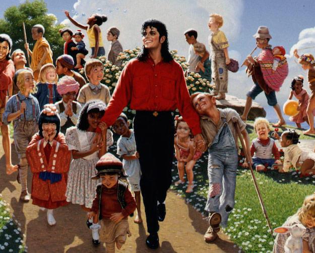 Michael Jackson rodeado de niños