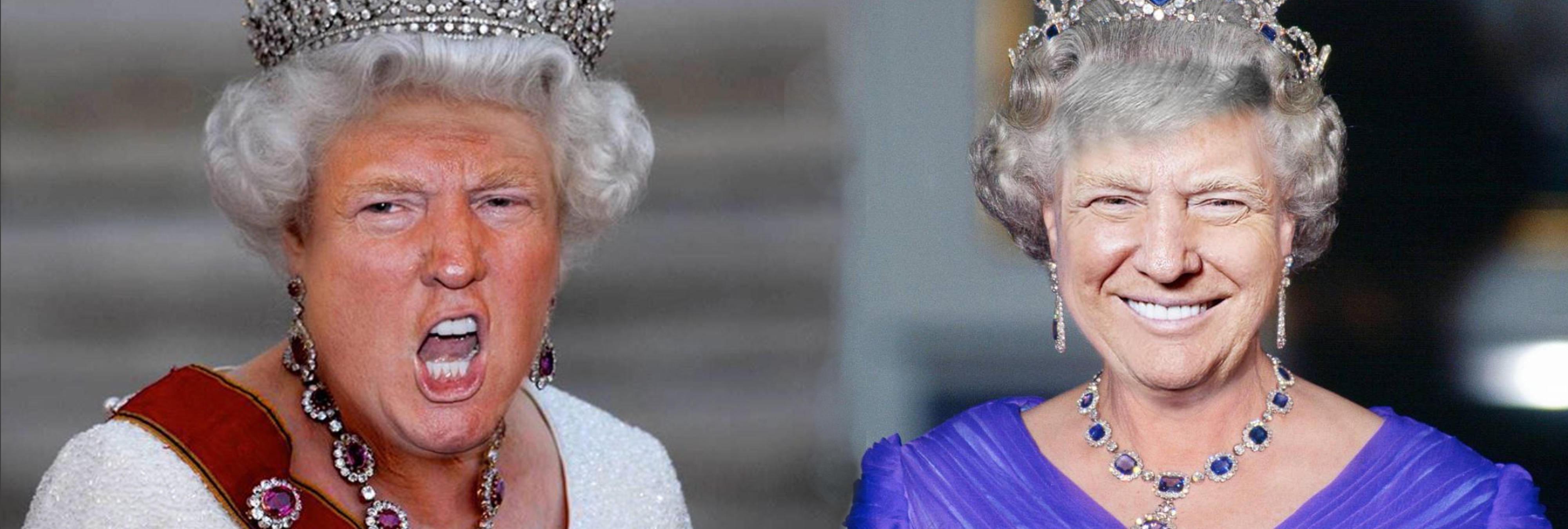 Hacen montajes con la cara de Trump en el cuerpo de la reina de Inglaterra y el resultado es mortal