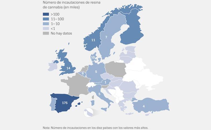 En España se ha incautado más resina de cannabis que en todos los países estudiados juntos