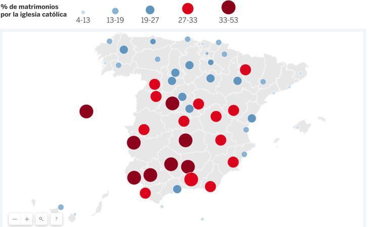 Concentración matrimonios católicos Fuente: El País