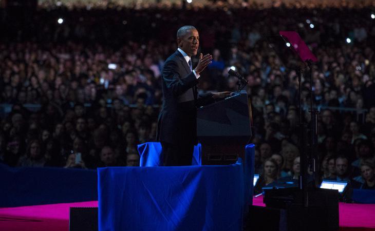 Obama acompañado de su gran público