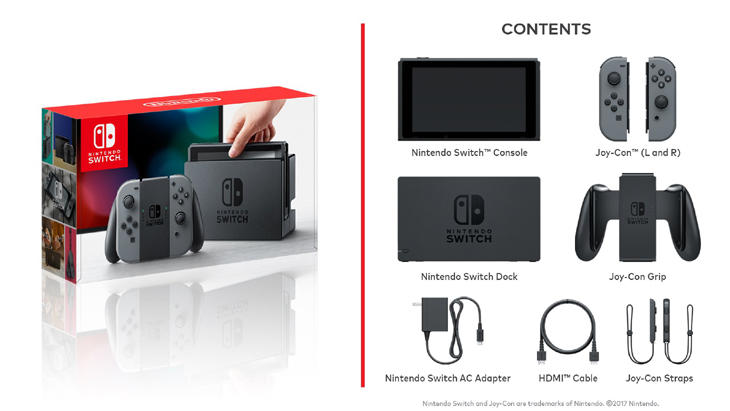 Esto será todo lo que incluirá la caja de Nintendo Switch en su lanzamiento
