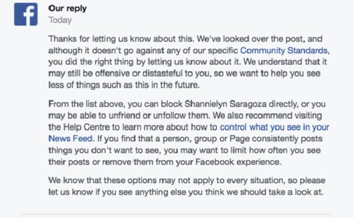 Respuesta de Facebook a los intentos de denunciar el vídeo de Katelyn