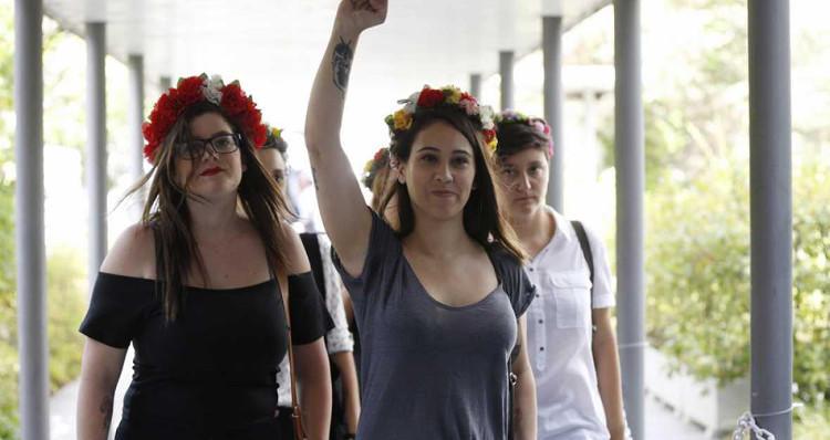 Algunas de las activistas de Femen España