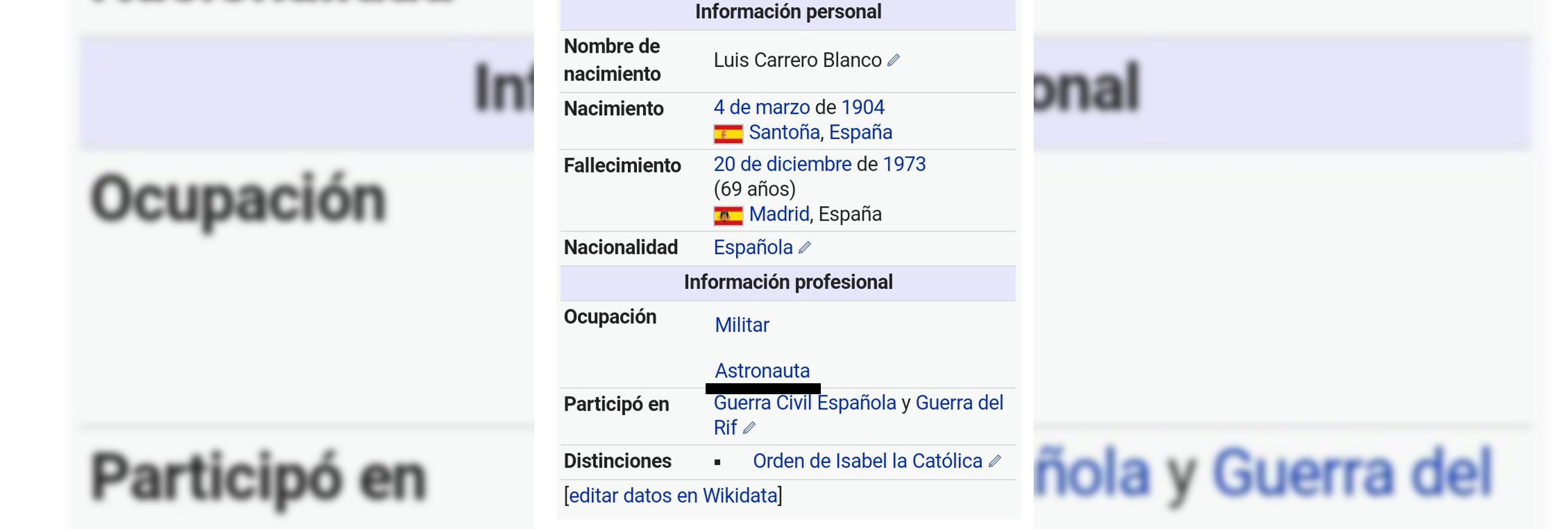 Trolean la Wikipedia y convierten a  Carrero Blanco en astronauta