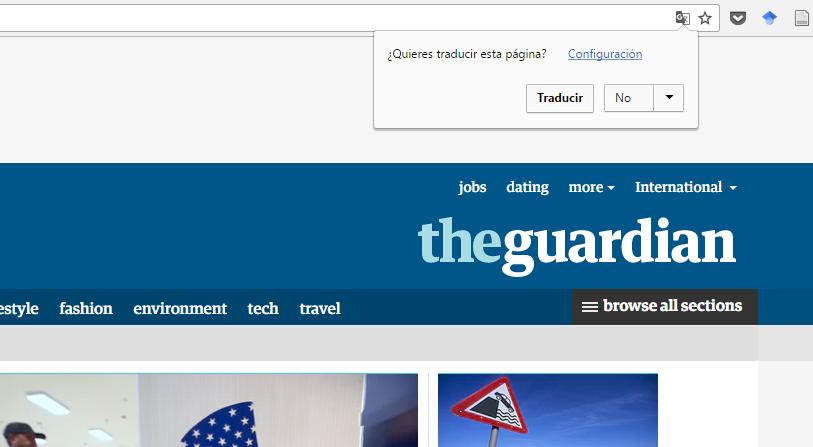 El navegador Chrome detecta una página en otro idioma