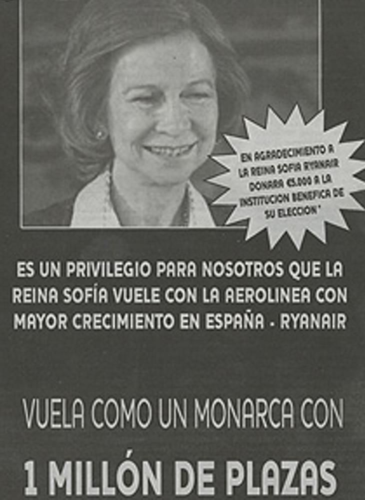 Ryanair tuvo que retirar un anuncio por emplear la imagen de la Reina Sofía como reclamo