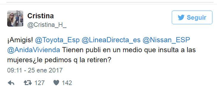Tweet de Cristina Hernández