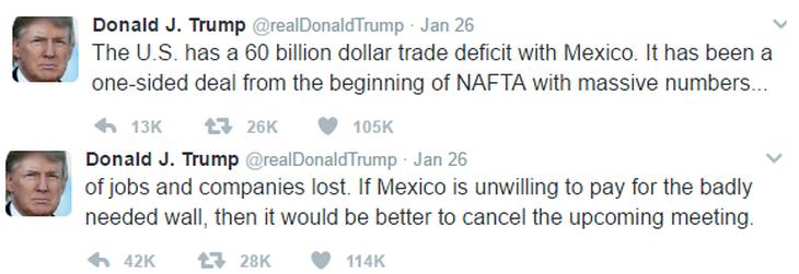 Tweets causantes del primer encontronazo internacional del Presidnete Trump