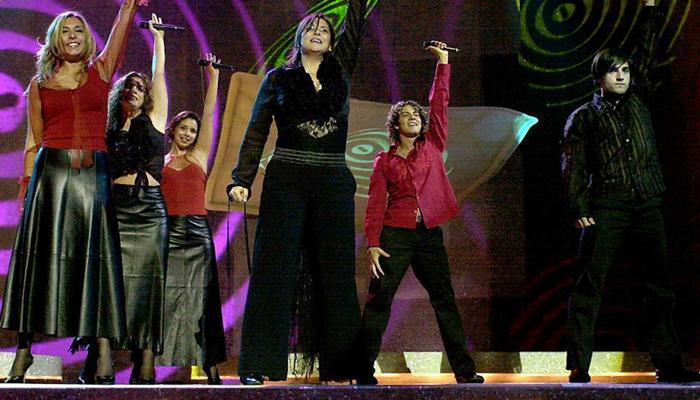 Rosa y los chicos de 'OT 1' en Eurovisión 2002