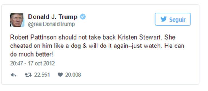 Tweet de Donald Trump a Kristen Stewart