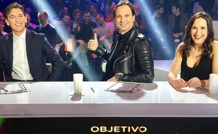 Xavi Martínez, Javier Cárdenas y Virginia Díaz en 'Objetivo Eurovisión'