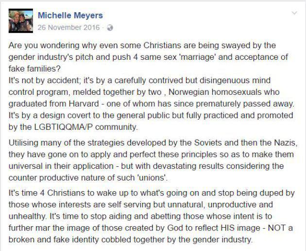 Pueblicación en Facebook de Meyers