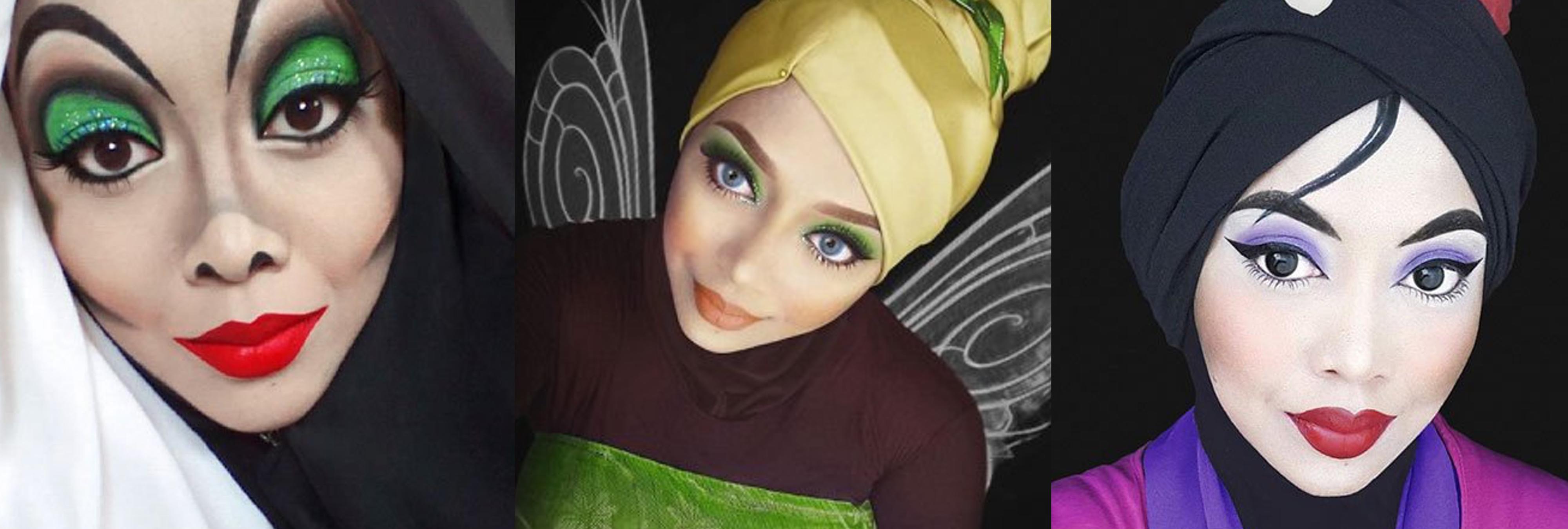 Utiliza sus hiyab para convertirse en todos los personajes Disney