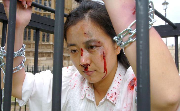 Representación de los supuestos métodos de tortura de las cácerles chinas