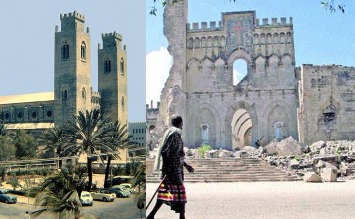 Catedral de Mogadiscio, completamente destrozada por la guerra