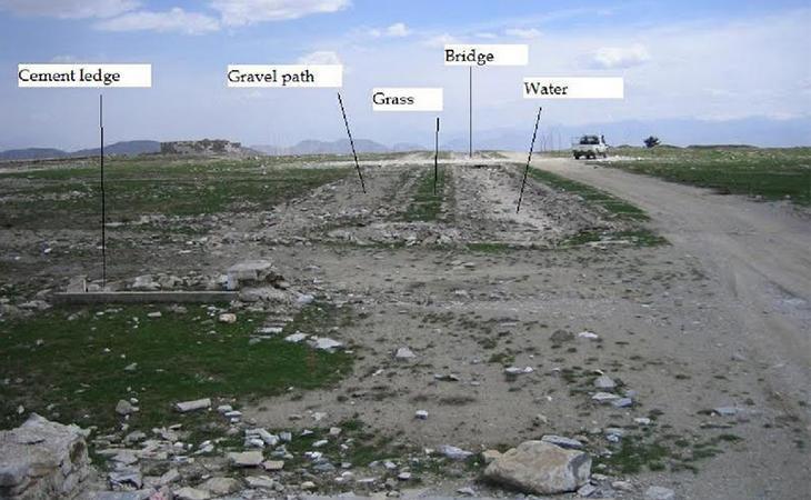 Vista del mismo jardín en Kabul en la actualidad