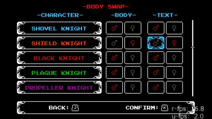 El selector que permitirá elegir el sexo y género de los personajes.