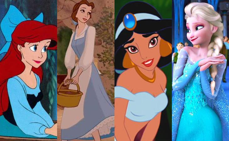 Casi todas las princesas Disney visten de azul