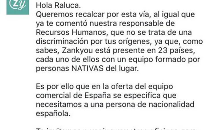 Respuesta de Zankyou a Raluca