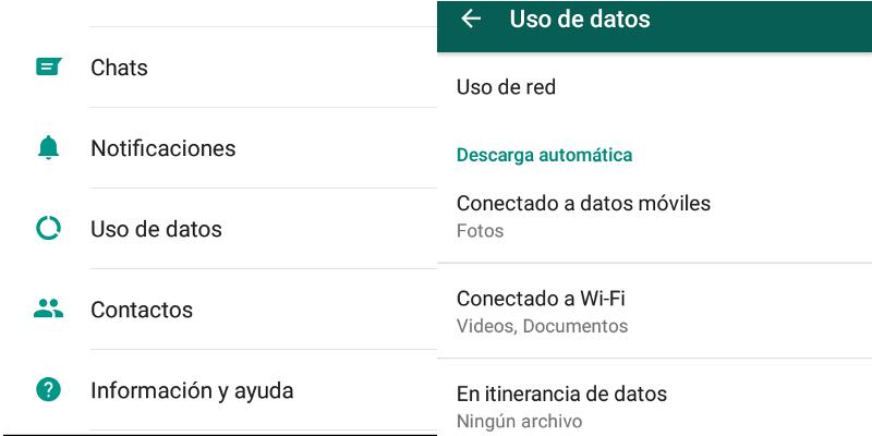 Ajustes de uso de datos para descargas automáticas