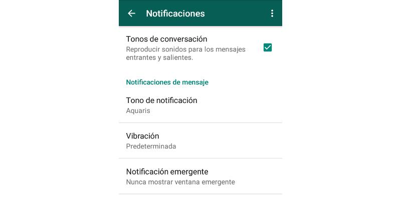 Gestión de notificaciones en WhatsApp