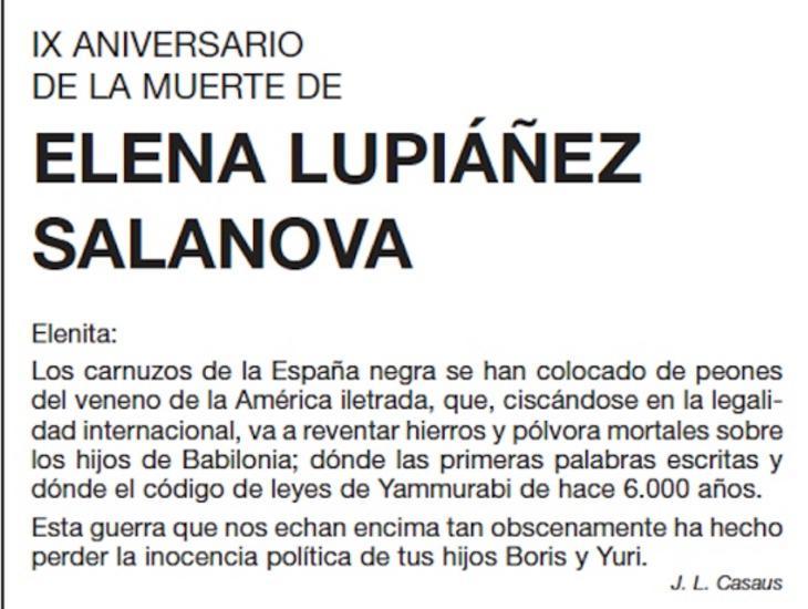 José Luis Casaus se quejaba ante Elena de la Guerra de Irak