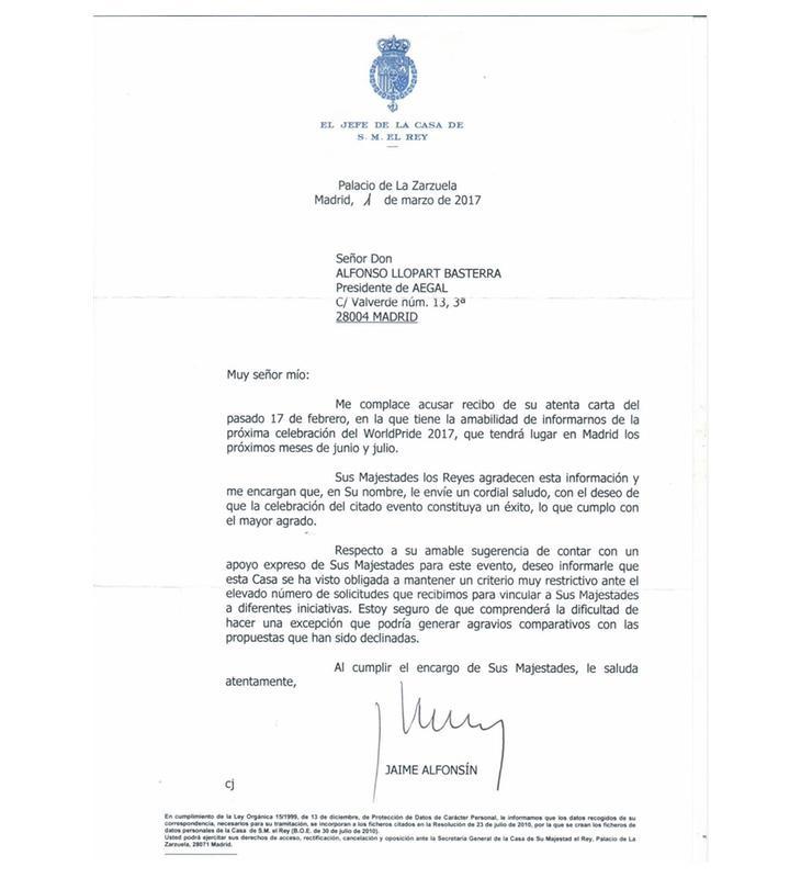 Esta es la carta completa que envió la Casa Real a la asociación de comerciantes AEGAL
