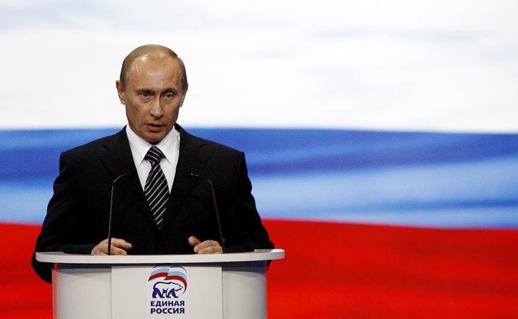 Vladimir Putin, durante un mitin del partido 'Rusia Unida'