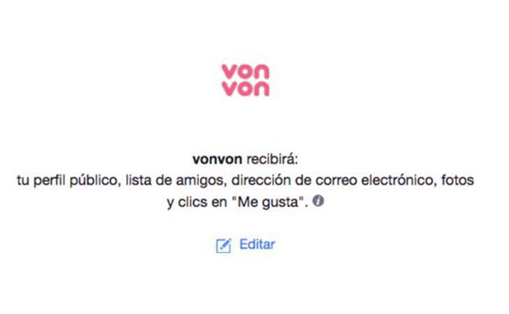 Von Von tiene acceso a tus datos privados