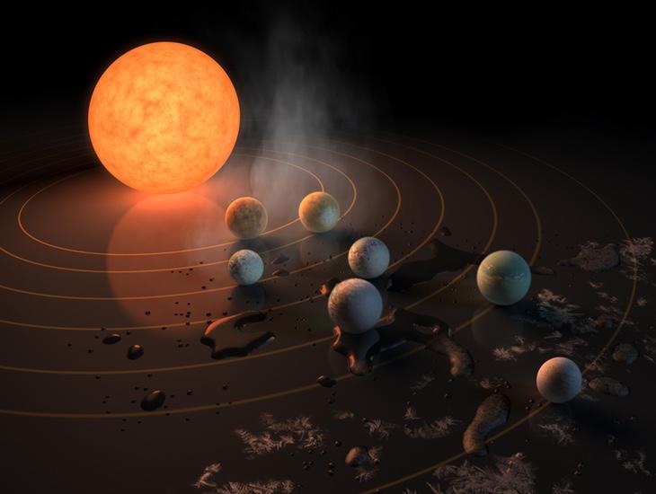 Recreación de la estrella Trappist-1 junto a los siete planetas recientemente descubiertos