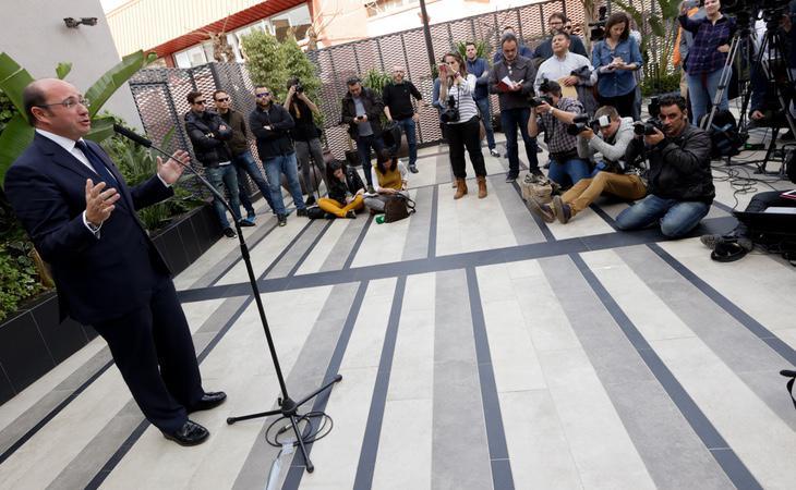El presidente murciano, Pedro Antonio Sánchez, defendió su inocencia en una comparecencia ante los medios