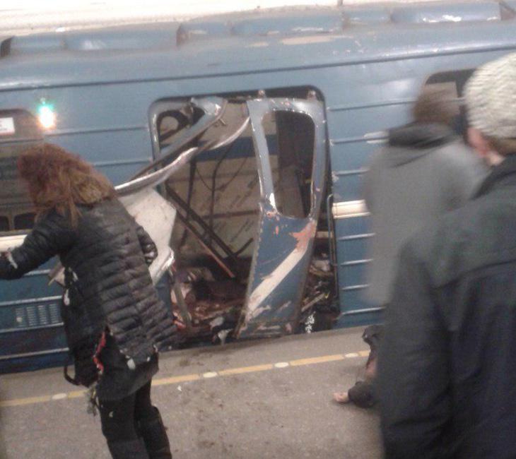 Imagen de uno de los trenes explosionados
