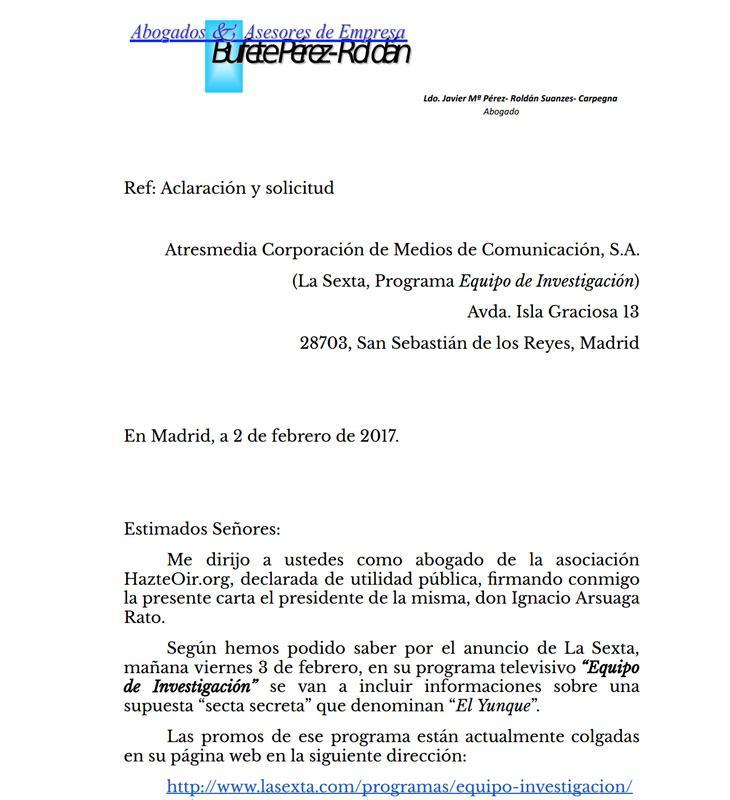 Carta de los abogados de Arsuaga para evitar la emisión de un reportaje que vincula a 'HazteOír' con el Yunque