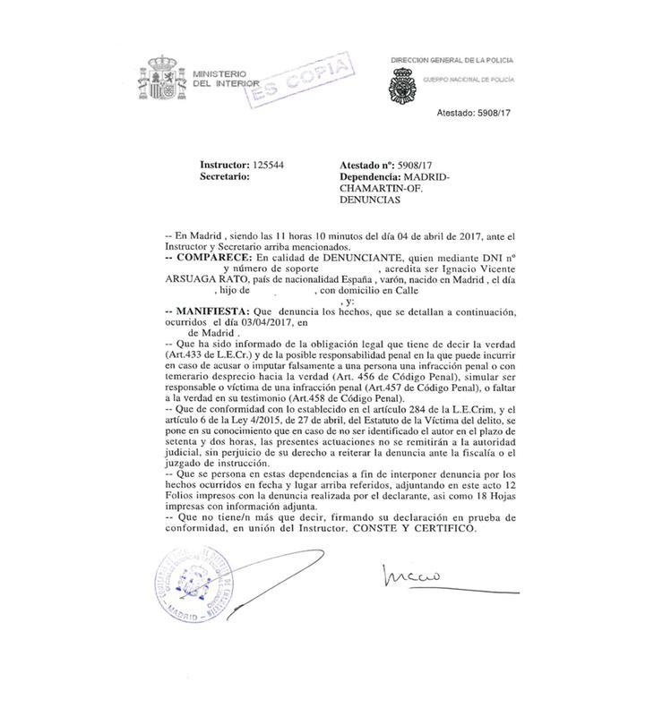Escrito de denuncia supuestamente firmado por Ignacio Arsuaga