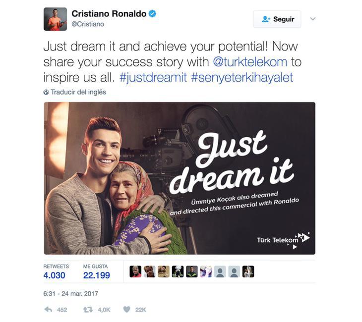 Cristiano Ronaldo puede embolsarse 260.000 euros por un tuit como este