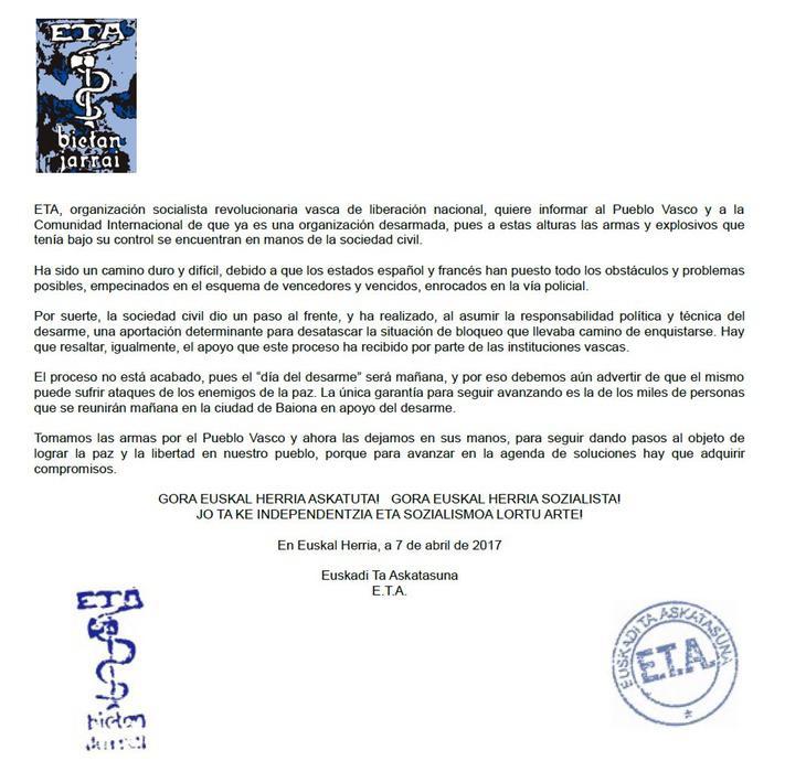 Comunicado emitido por la banda terrorista ETA