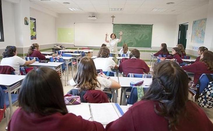 Una de las aulas del colegio Juan Pablo II
