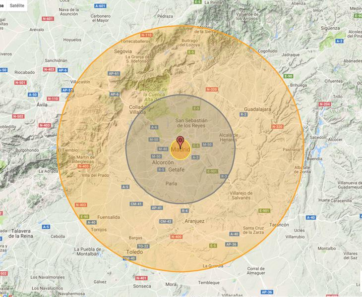 Alcance de una bomba nuclear en Madrid