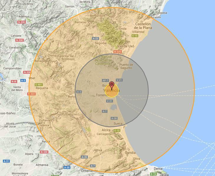 Resultado de una bomba nuclear en Valencia